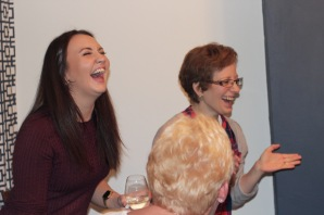 Karen and Hilary appreciating another miss from the MRes boys