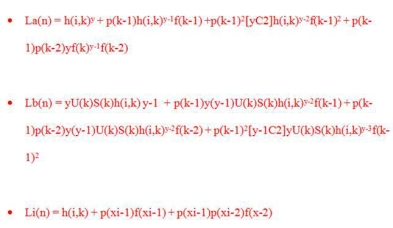 Equations used in TMCA calculations