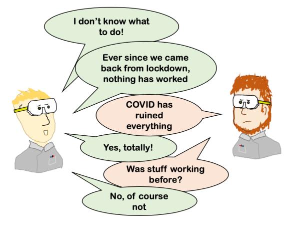 cartoon conversation between scientists concerned by lockdown