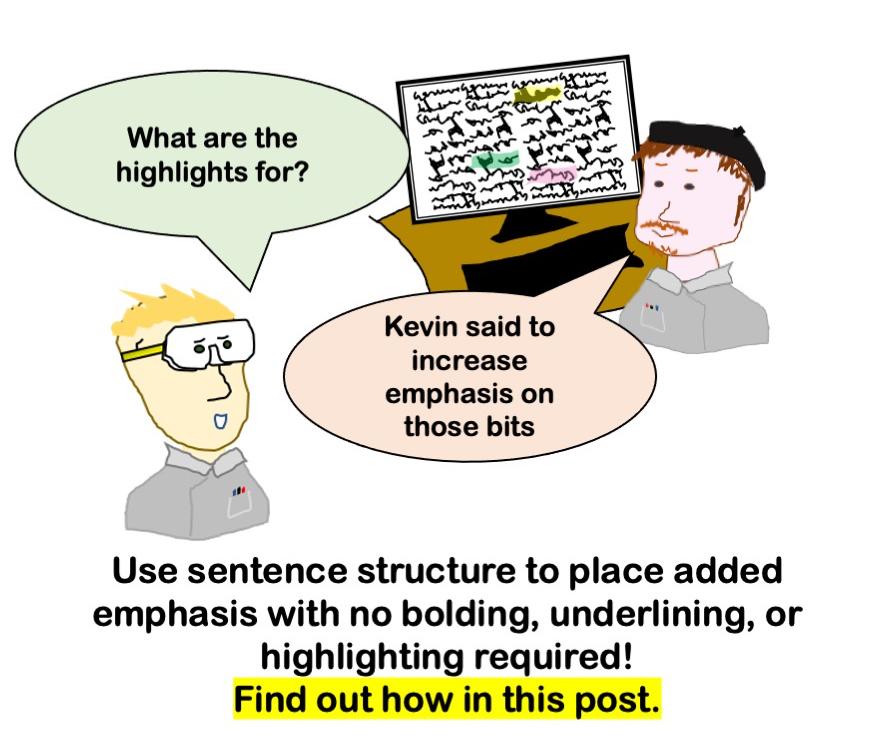 cartoon about adding emphasis through sentence structure